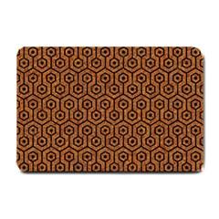 Hexagon1 Black Marble & Rusted Metal Small Doormat  by trendistuff