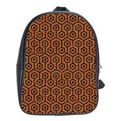 Hexagon1 Black Marble & Rusted Metal School Bag (xl) by trendistuff