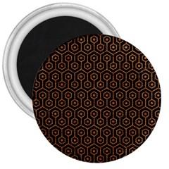 Hexagon1 Black Marble & Rusted Metal (r) 3  Magnets by trendistuff