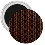 HEXAGON1 BLACK MARBLE & RUSTED METAL (R) 3  Magnets