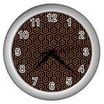 HEXAGON1 BLACK MARBLE & RUSTED METAL (R) Wall Clocks (Silver)