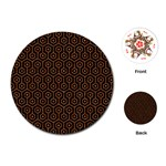 HEXAGON1 BLACK MARBLE & RUSTED METAL (R) Playing Cards (Round)