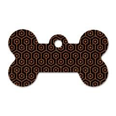 Hexagon1 Black Marble & Rusted Metal (r) Dog Tag Bone (one Side) by trendistuff