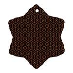 HEXAGON1 BLACK MARBLE & RUSTED METAL (R) Ornament (Snowflake)