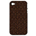 HEXAGON1 BLACK MARBLE & RUSTED METAL (R) Apple iPhone 4/4S Hardshell Case (PC+Silicone)