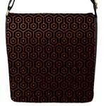 HEXAGON1 BLACK MARBLE & RUSTED METAL (R) Flap Messenger Bag (S)