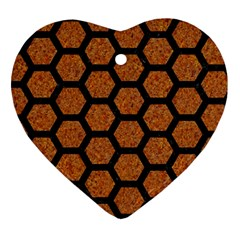 Hexagon2 Black Marble & Rusted Metal Heart Ornament (two Sides) by trendistuff