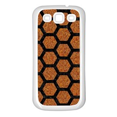 Hexagon2 Black Marble & Rusted Metal Samsung Galaxy S3 Back Case (white) by trendistuff