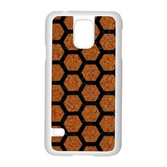 Hexagon2 Black Marble & Rusted Metal Samsung Galaxy S5 Case (white) by trendistuff