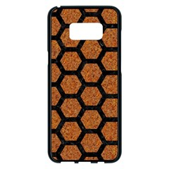 Hexagon2 Black Marble & Rusted Metal Samsung Galaxy S8 Plus Black Seamless Case by trendistuff