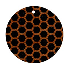 Hexagon2 Black Marble & Rusted Metal (r) Ornament (round) by trendistuff