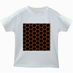 Hexagon2 Black Marble & Rusted Metal (r) Kids White T Shirts by trendistuff