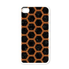 Hexagon2 Black Marble & Rusted Metal (r) Apple Iphone 4 Case (white) by trendistuff