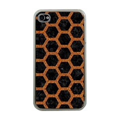 Hexagon2 Black Marble & Rusted Metal (r) Apple Iphone 4 Case (clear) by trendistuff