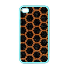 Hexagon2 Black Marble & Rusted Metal (r) Apple Iphone 4 Case (color) by trendistuff