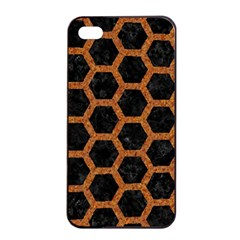 Hexagon2 Black Marble & Rusted Metal (r) Apple Iphone 4/4s Seamless Case (black) by trendistuff