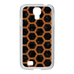Hexagon2 Black Marble & Rusted Metal (r) Samsung Galaxy S4 I9500/ I9505 Case (white) by trendistuff