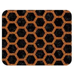 Hexagon2 Black Marble & Rusted Metal (r) Double Sided Flano Blanket (medium)  by trendistuff