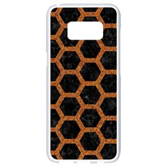 Hexagon2 Black Marble & Rusted Metal (r) Samsung Galaxy S8 White Seamless Case by trendistuff