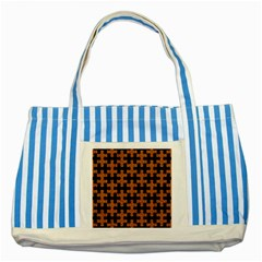 Puzzle1 Black Marble & Rusted Metal Striped Blue Tote Bag by trendistuff