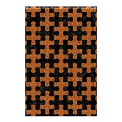 Puzzle1 Black Marble & Rusted Metal Shower Curtain 48  X 72  (small)  by trendistuff