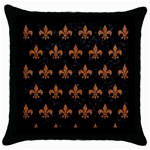 ROYAL1 BLACK MARBLE & RUSTED METAL Throw Pillow Case (Black)