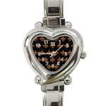 ROYAL1 BLACK MARBLE & RUSTED METAL Heart Italian Charm Watch