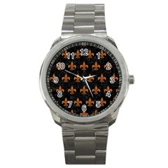 Royal1 Black Marble & Rusted Metal Sport Metal Watch by trendistuff