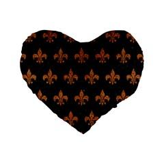 Royal1 Black Marble & Rusted Metal Standard 16  Premium Flano Heart Shape Cushions by trendistuff