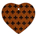 ROYAL1 BLACK MARBLE & RUSTED METAL (R) Ornament (Heart)