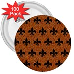 ROYAL1 BLACK MARBLE & RUSTED METAL (R) 3  Buttons (100 pack)