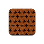 ROYAL1 BLACK MARBLE & RUSTED METAL (R) Rubber Coaster (Square)