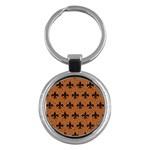 ROYAL1 BLACK MARBLE & RUSTED METAL (R) Key Chains (Round)