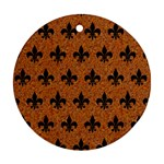 ROYAL1 BLACK MARBLE & RUSTED METAL (R) Round Ornament (Two Sides)