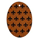 ROYAL1 BLACK MARBLE & RUSTED METAL (R) Oval Ornament (Two Sides)