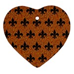 ROYAL1 BLACK MARBLE & RUSTED METAL (R) Heart Ornament (Two Sides)