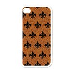 ROYAL1 BLACK MARBLE & RUSTED METAL (R) Apple iPhone 4 Case (White)