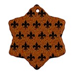 ROYAL1 BLACK MARBLE & RUSTED METAL (R) Snowflake Ornament (Two Sides)