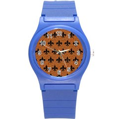 Royal1 Black Marble & Rusted Metal (r) Round Plastic Sport Watch (s) by trendistuff