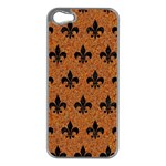 ROYAL1 BLACK MARBLE & RUSTED METAL (R) Apple iPhone 5 Case (Silver)