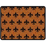ROYAL1 BLACK MARBLE & RUSTED METAL (R) Double Sided Fleece Blanket (Large)