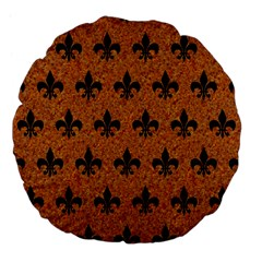 Royal1 Black Marble & Rusted Metal (r) Large 18  Premium Flano Round Cushions by trendistuff