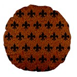 ROYAL1 BLACK MARBLE & RUSTED METAL (R) Large 18  Premium Flano Round Cushions