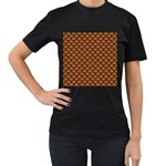 SCALES1 BLACK MARBLE & RUSTED METAL Women s T-Shirt (Black) (Two Sided)