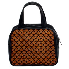 Scales1 Black Marble & Rusted Metal Classic Handbags (2 Sides) by trendistuff