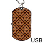 SCALES1 BLACK MARBLE & RUSTED METAL Dog Tag USB Flash (One Side)