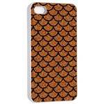 SCALES1 BLACK MARBLE & RUSTED METAL Apple iPhone 4/4s Seamless Case (White)