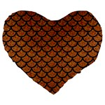 SCALES1 BLACK MARBLE & RUSTED METAL Large 19  Premium Heart Shape Cushions