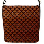 SCALES1 BLACK MARBLE & RUSTED METAL Flap Messenger Bag (S)