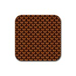 SCALES3 BLACK MARBLE & RUSTED METAL Rubber Coaster (Square)